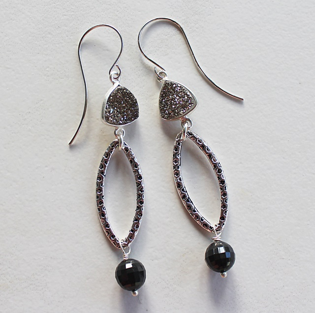 Druzy and Black Obsidian Hoop Earrings - The Marla Earrings