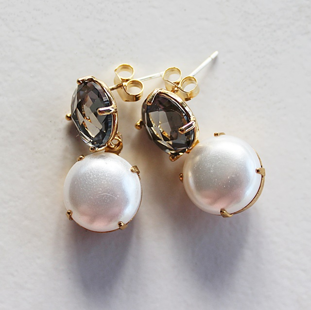 Post Style Gray Glass and Pearl Cabachon Earrings - The Carolyn Earrings