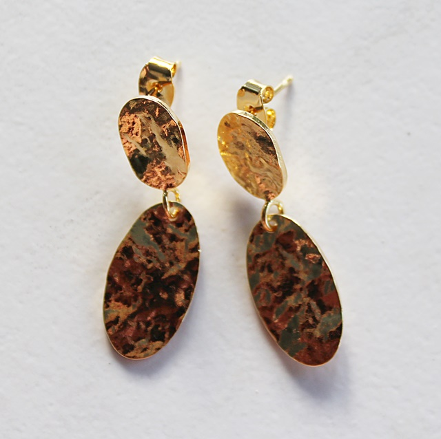 Gold Post Hammered Earrings - The Eileen Earrings