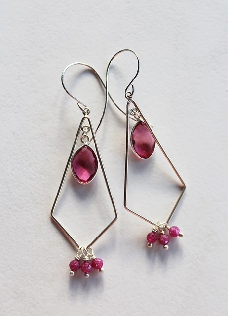 Triangle Hoops with Ruby and Quartz Earrings - The Tory Earrings