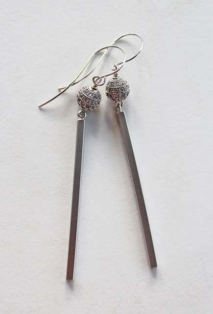 Rhinestone Bar Earrings - The Samantha Earrings