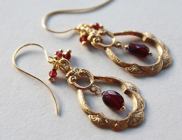 Garnet Fancy Hoop Earrings - The Fiona Earrings