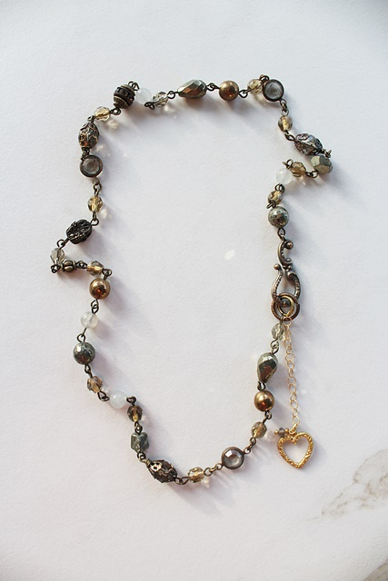 Handmade Chain and Heart Necklace - The Liz Necklace