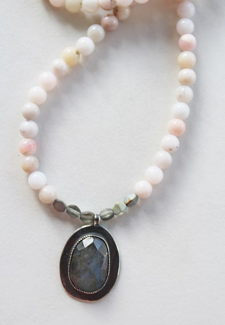 Pink Opal and Labradorite Necklace - The Paisley Necklace