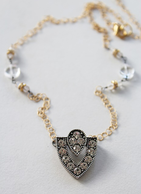 Retro Rhinestone and 14kt Gold Necklace - The Betty Necklace