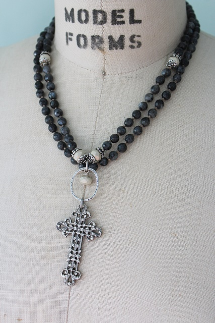 Larvikite and Glass Hand knotted Cross Necklace - The Santa Maria Necklace