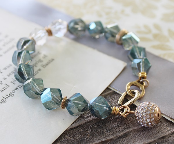 Vintage Glass and Rhinestone Bracelet - The Corey Bracelet