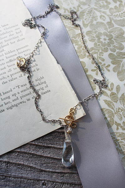 Mixed Metal and Clear Quartz Teardrop Lariat - The Kenzie Necklace