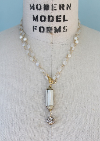 Zircon, Glass Pearl and Mother of Pearl and Rhinestone Pendant - The Audra Necklace