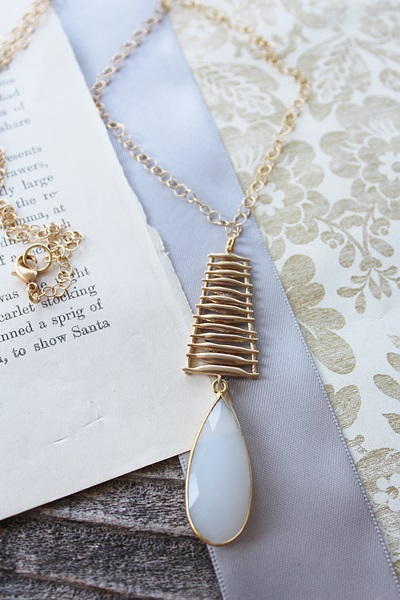 Snow Quartz Ladder Necklace - The Trisha Necklace