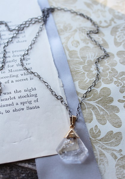 Clear Quartz Pendant on Oxidized Sterling Silver - The Ellie Necklace