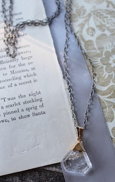 Clear Quartz Pendant on Oxidized Sterling Silver - The Ellie Necklace