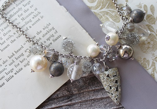 Market Day Holiday Necklace - Silver and Pearl