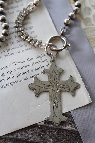 Sterling Clad and Rhinestone Etched Cross Necklace - The Hope Necklace