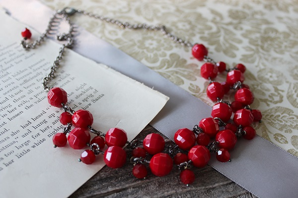 Vintage Red Glass Bib Necklace - The Holly Necklace