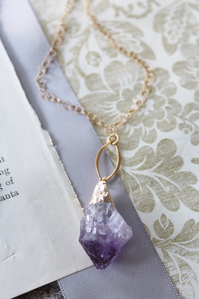 Raw Amethyst Drop Necklace - The Rayna Necklace