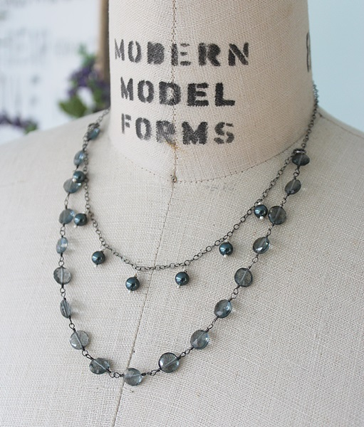 London Blue Topaz and Glass Pearl Necklace - The Serena Necklace