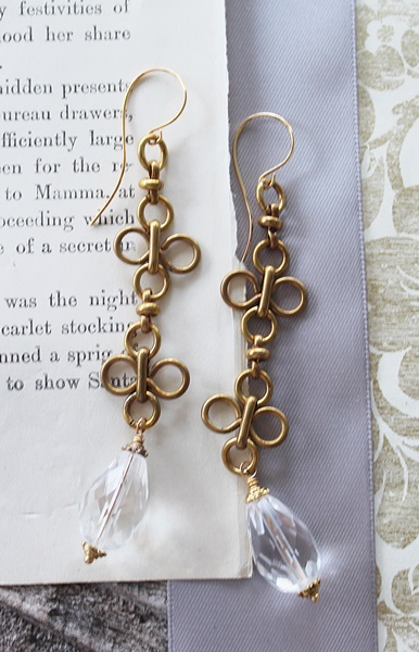 Vintage Clover Chain and Glass Earrings  - The Helene Earrings