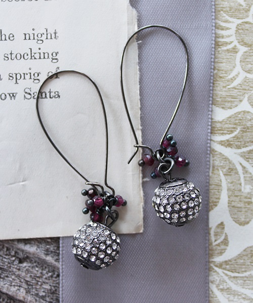 Oxidized Rhinestone and Garnet Earrings - The Nancy Earrings