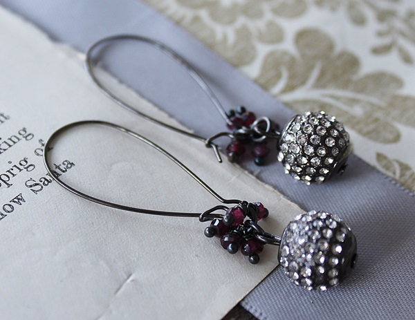 Oxidized Rhinestone and Garnet Earrings - The Nancy Earrings