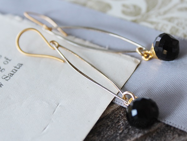 Mixed Metal and Onyx Earrings - The Sarah Earrings