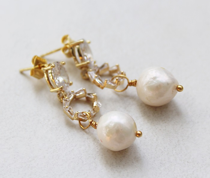 Clear CZ Post Style Earrings with Fresh Water Pearls - The Iris Earrings
