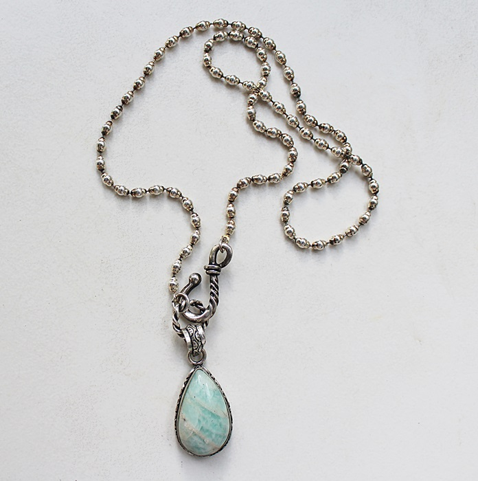 Amazonite Sterling Silver Pendant Necklace - The Tess Necklace