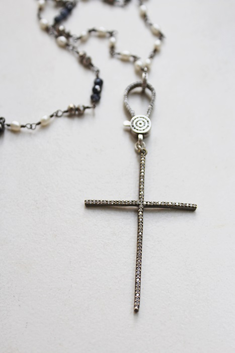 CZ Cross and Mixed Pearl and Sapphire Necklace - The Hope Necklace