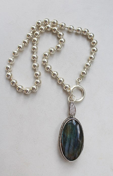 Labradorite Pendant on Sterling Clad Ball Chain - The Lydia Necklace