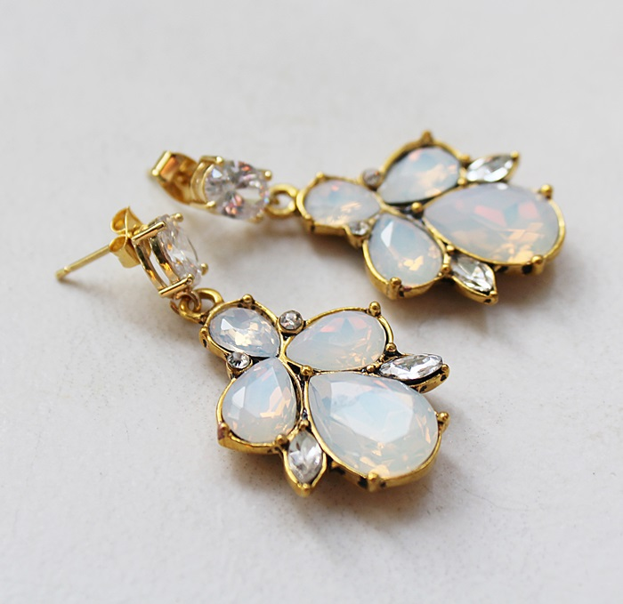 Fancy Swarovski and CZ Post Earrings - The Irene Earrings