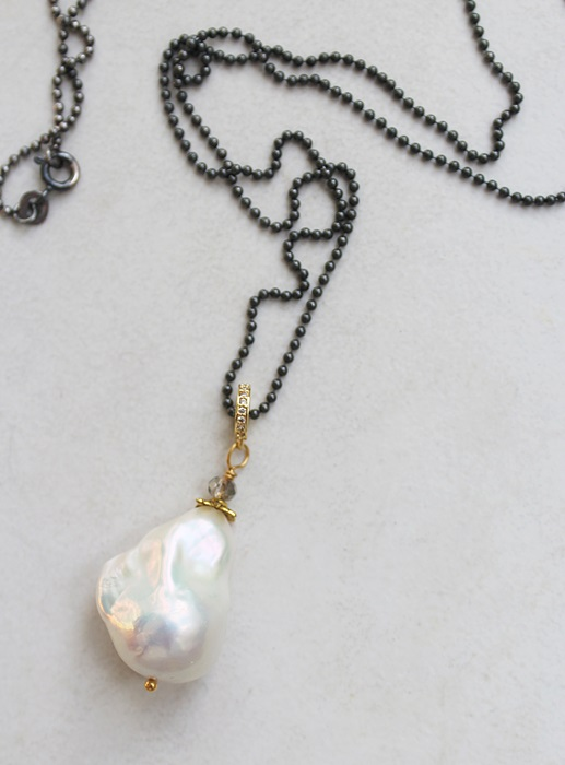 Baroque Pearl on Oxidized Sterling Silver Ball Chain - The Tanya Necklace