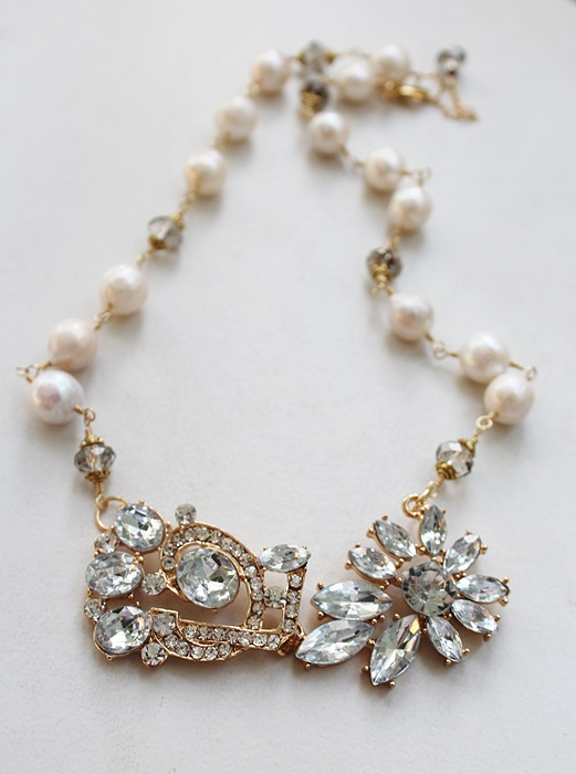 Rhinestone Pendant and Fresh Water Pearl Necklace - The Barbara Necklace