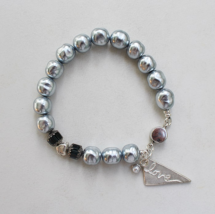 Gray Glass Pearl and Love Charm Bracelet - The Christmas Love Bracelet