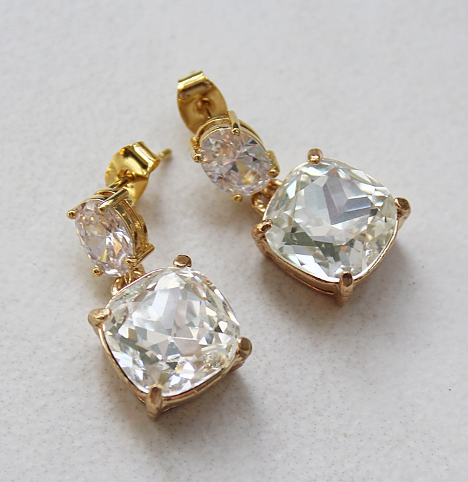 Clear CZ Post Style Earrings with Swarovski Drop - The Linda Earrings