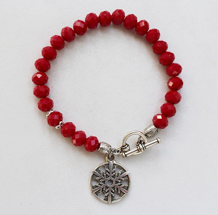 Red Holiday Snowflake Bracelet - The Frosty Bracelet