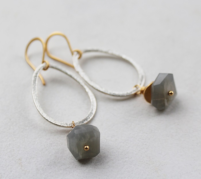 Rough Cut Gray Moonstone Hoop Earrings - The Parker Earrings