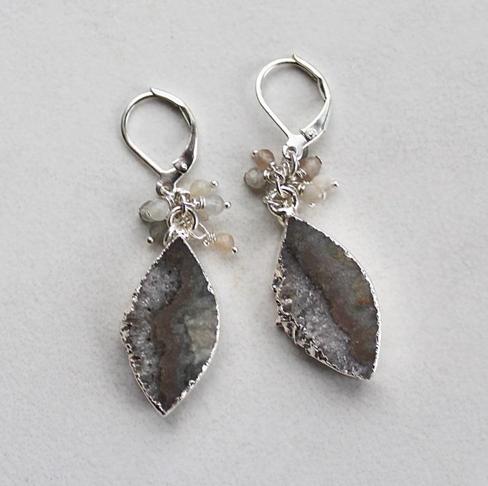 Amethyst Slice and Cluster Earrings - The Eileen Earrings