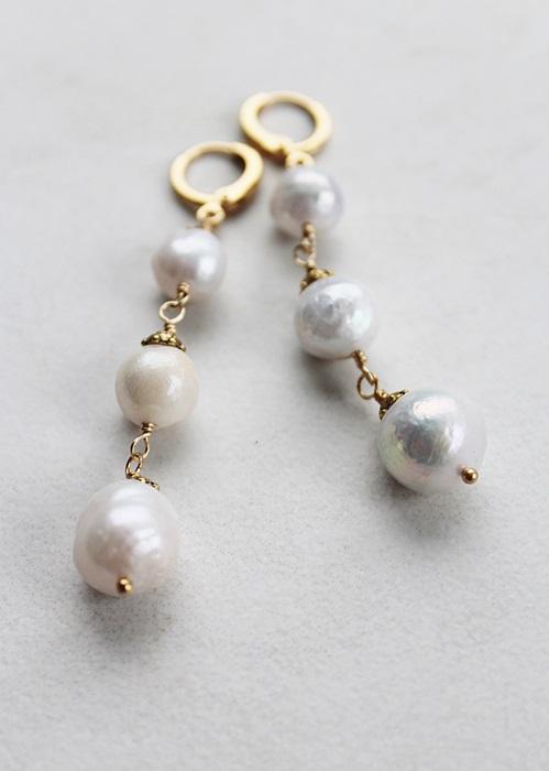 Fresh Water Pearl Trio Earrings - The Morgan Earrings
