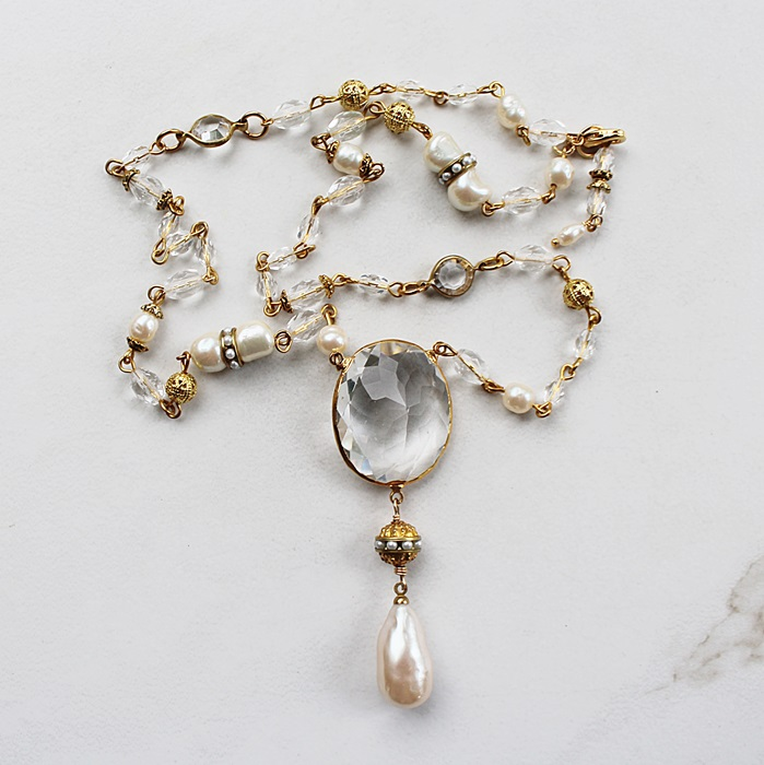 Clear Quartz Drop on Vintage Glass Necklace - The Lorna Necklace