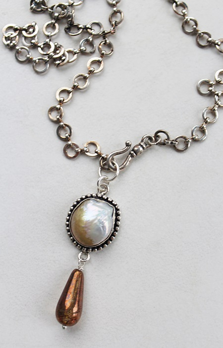 Mother of Pearl and Sterling Silver Clad Necklace - The Mariah Necklace