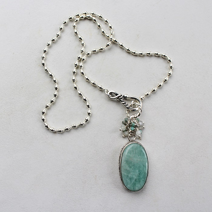Amazonite Oval Cluster Necklace - The Stacy Necklace