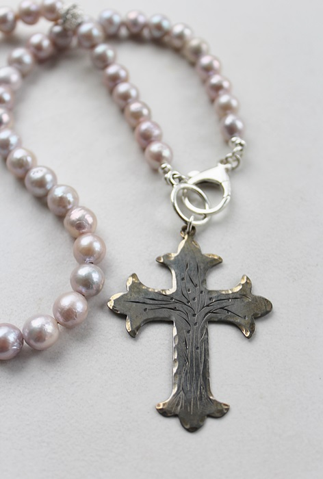 Sterling Clad Etched Cross and Fresh Water Pearl Necklace - The Divine Necklace