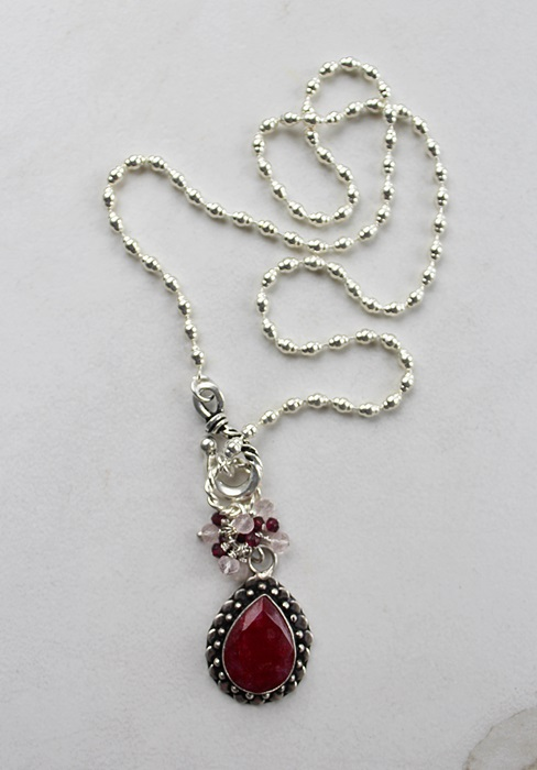 Ruby Cluster Necklace - The Julia Necklace