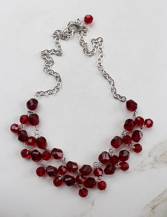 Ruby Red and Sterling Silver Bib Necklace - The Holiday Necklace