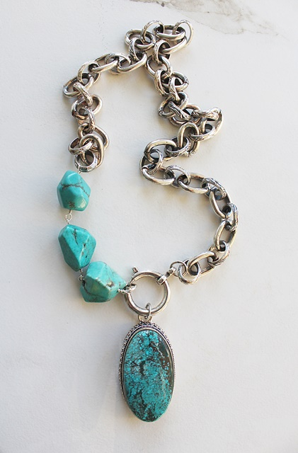 Turquoise Nugget and Sterling Silver Pendant Necklace - The Sedona Necklace