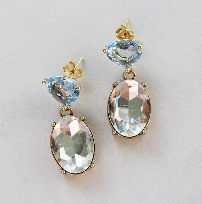Blue Quartz and Clear Rhinestone Earrings - The Brandy Earrings