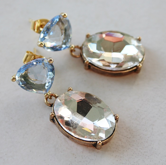 Blue Quartz and Clear Rhinestone Earrings - The Brandy Earrings