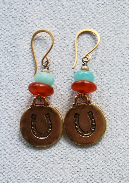 Aquamarine Horseshoe Earrings