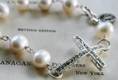 Blessed Bracelet in Fresh Water Pearl-bracelet, wirewrapped, cross, sterling silver, rhinestone, religious, virgin mary charm, fresh water pearl, plump, creamy white, lovely, wholesale, tippy stockton