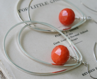 Clementine Earrings-earrings, dangle, orange quartz, silvertone, sterling silver earwires, color of the year, pantone, summertime, fun, funky, wholesale, tippy stockton